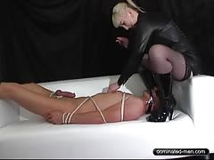 Filthy blonde get naughty with slave in the white couch