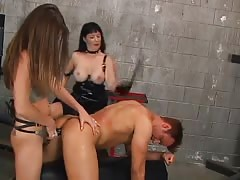 Strapon abuse to a sub naked guy