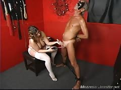 Pain and pleasure to slaves cock