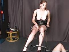 Smoking fetish domme plays slave