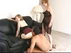 Naked man forced to worship mistress ass