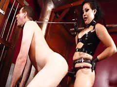 His first time in femdom pegging