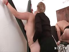 Cougar blonde plays and punished her couple slave