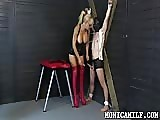 Bad mature blonde punishes her loser slave
