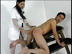 His ass explored with a femdom nurse