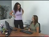 Horny man pegged in the office