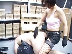 Strapon submission to a smoking cruel MILF