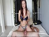 Femdom strapon sex in bed