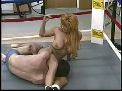 Tough female gym instructor mixed wrestling domination