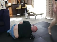 Mixed wrestling with ball busting