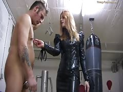Blonde domina gives brutal punishment