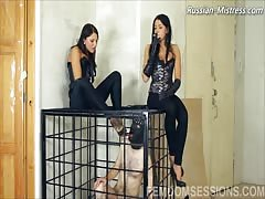 Humiliating the cage slave