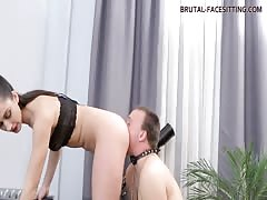 Sexy dominatrix and her obedient pussy eater slave boy