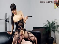 Sexy smothering on the sofa by nasty mistress