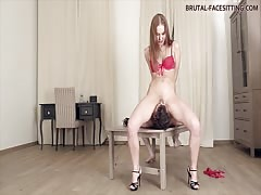 Mistress making slave to lick her pussy and feet