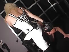 Leather pants worshiping with ball usting