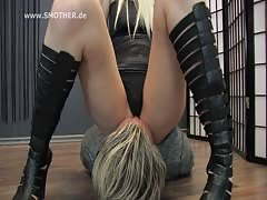 Blonde Mistress Isa and her smother slave