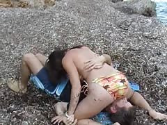 Sexy smothering at the beach