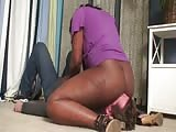Nasty black mistress smothering act
