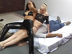 Two mistress enjoys smothering pathetic loser