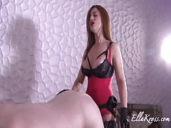 Pegging slave with her new huge strapon